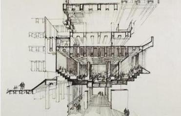 Kallmann's drawing showing a cross-section of the building